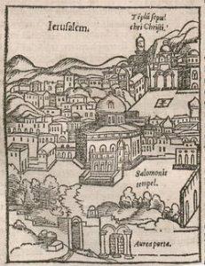 Zicht op de tempel van Salomo en de H. Grafkerk in Jeruzalem (inc. 2559)