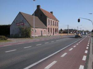 """Zicht langs de baan Brugge Kortrijk (Tentoonstelling """"Langs nieuwe wegen"""")"""