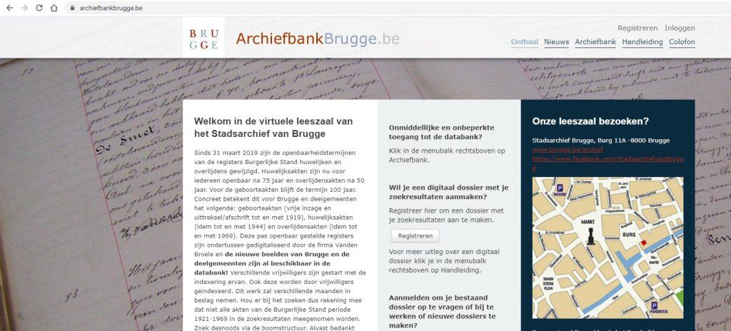 Printscreen Archiefbank Brugge